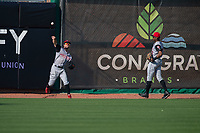 Arkansas Travelers outfielder Aaron Knapp (1) throws back to the infield during a Texas League game between the Northwest Arkansas Naturals and the Arkansas Travelers on May 30, 2019 at Arvest Ballpark in Springdale, Arkansas. (Jason Ivester/Four Seam Images)