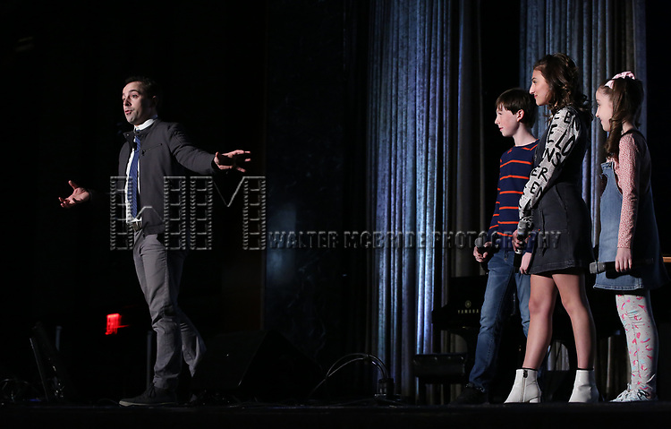 """Rob McCure, Jake Ryan Flynn, Analise Scarpaci and Avery Sell from """"Mrs Doubtfire"""" during the BroadwayCON 2020 First Look at the New York Hilton Midtown Hotel on January 24, 2020 in New York City."""