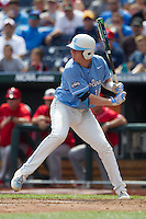 North Carolina third baseman Colin Moran (18) at bat during Game 3 of the 2013 Men's College World Series against the North Carolina State Wolfpack at TD Ameritrade Park on June 16, 2013 in Omaha, Nebraska. The Wolfpack defeated the Tar Heels 8-1. (Andrew Woolley/Four Seam Images)