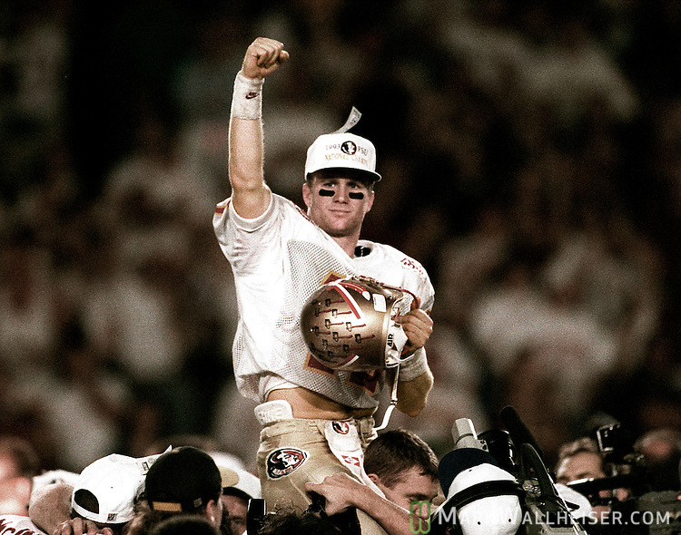 Matt Frier exalts after beating Nebraska for the 1993 National Championship in the Orange Bowl.  It was Florida State's first National Championship