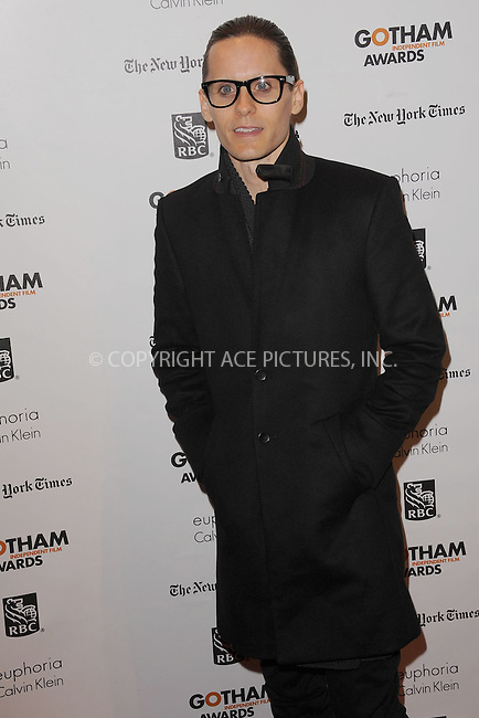 WWW.ACEPIXS.COM . . . . . .November 26, 2012...New York City....Jared Leto attends the IFP's 22nd Annual Gotham Independent Film Awards at Cipriani Wall Street on November 26, 2012 in New York City ....Please byline: KRISTIN CALLAHAN - ACEPIXS.COM.. . . . . . ..Ace Pictures, Inc: ..tel: (212) 243 8787 or (646) 769 0430..e-mail: info@acepixs.com..web: http://www.acepixs.com .