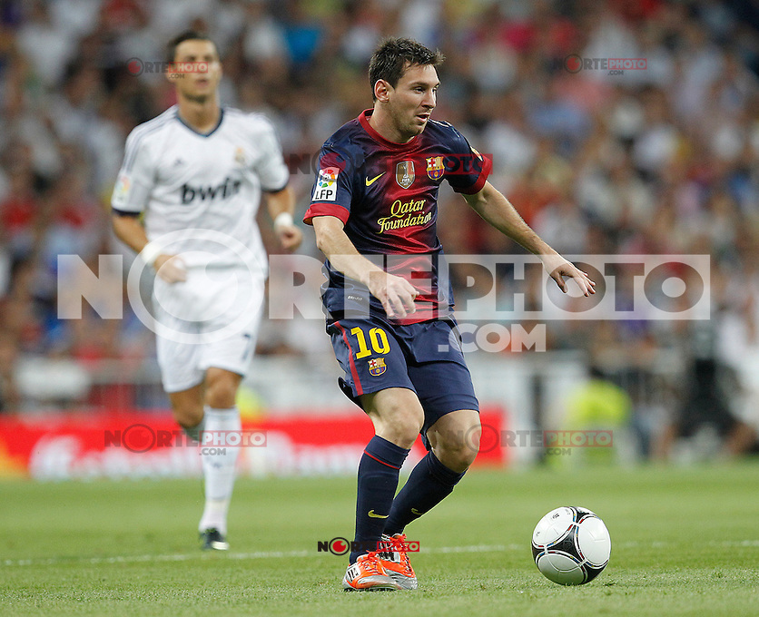 Real Madrid's Cristiano Ronaldo and F.C. Barcelona's Lionel Messi during Spanish Supercup 2nd match on august 29 2012...Photo: Cesar Cebolla / ALFAQUI /NortePhoto.com<br />