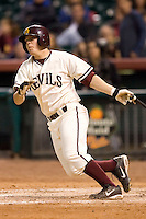 Arizona State third baseman CJ Retherford (2) follows through on his swing versus Texas A&M at the 2007 Houston College Classic at Minute Maid Park in Houston, TX, Friday, February 9, 2007.  Arizona State defeated Texas A&M 5-4.