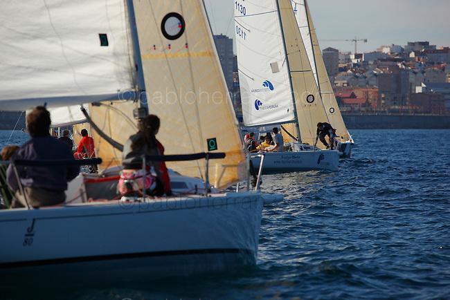 Regata de J80´s en la Ria de La Coruña, organizada por el Real Club Nautico de La Coruña.
