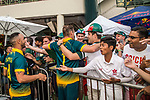 Sarel Erwee of South Africa celebrate with the fans after winning Hong Kong Cricket World Sixes 2017 Cup final match between Pakistan vs South Africa at Kowloon Cricket Club on 29 October 2017, in Hong Kong, China. Photo by Vivek Prakash / Power Sport Images