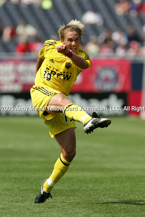 16 July 2005: Chris Henderson takes a shot. The Chicago Fire and Columbus Crew tied 1-1 at Soldier Field in Chicago, Illinois in a regular season Major League Soccer game.