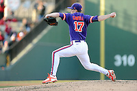 Pitcher Paul Campbell (17) of the Clemson Tigers delivers a pitch in the Reedy River Rivalry game against the South Carolina Gamecocks on Saturday, February 28, 2015, at Fluor Field at the West End in Greenville, South Carolina. South Carolina won, 4-1. (Tom Priddy/Four Seam Images)