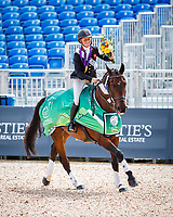 The new World Champion: GBR-Rosalind Canter rides Allstar B during the Medal Ceremony for the FEI World Individual Eventing Championship. Tinal-1st. 2018 FEI World Equestrian Games Tryon. Monday 17 September. Copyright Photo: Libby Law Photography