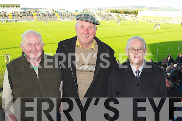 Eric Murphy Caherciveen, Luke Kean Knocknagoshel, Michael Parker Kilflynn Kerry supporters at the U-21 football Munster final at Austin Stack Park on Wednesday evening.