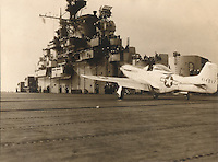 The first and only P51 Seahorse (Mustang) ever to land and takeoff from an aircraft carrier, on the U.S.S. Shangri-La (CV-38) on Nov. 15, 1944.  <br />