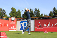 Ross Fisher (ENG) tees off the 14th tee during Thursday's Round 1 of the 2017 Omega European Masters held at Golf Club Crans-Sur-Sierre, Crans Montana, Switzerland. 7th September 2017.<br /> Picture: Eoin Clarke | Golffile<br /> <br /> <br /> All photos usage must carry mandatory copyright credit (&copy; Golffile | Eoin Clarke)