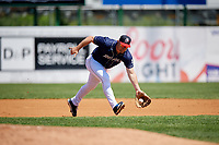 Binghamton Rumble Ponies third baseman Matt Oberste (18) fields a ground ball during a game against the Altoona Curve on June 14, 2018 at NYSEG Stadium in Binghamton, New York.  Altoona defeated Binghamton 9-2.  (Mike Janes/Four Seam Images)
