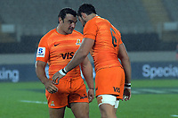 Agustin Creevy and Javier Otega Desio bump heads before the Super Rugby match between the Blues and Jaguares at Eden Park in Auckland, New Zealand on Friday, 28 April 2018. Photo: Dave Lintott / lintottphoto.co.nz