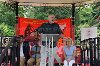 "Labour leader Jeremy Corbyn makes his speech during ""The Bevan Festival"" celebrating the 70th Anniversary of the National Health Service. <br /> <br /> Tredegar, South Wales, Sunday 1st July 2018 <br /> <br /> <br /> Jeff Thomas Photography -  www.jaypics.photoshelter.com - <br /> e-mail swansea1001@hotmail.co.uk -<br /> Mob: 07837 386244 -"