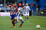 Atletico de Madrid´s Juanfran and Real Sociedad´s Hector Hernandez during 2015-16 La Liga match between Atletico de Madrid and Real Sociedad at Vicente Calderon stadium in Madrid, Spain. March 01, 2016. (ALTERPHOTOS/Victor Blanco)