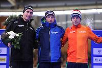 SCHAATSEN: BERLIJN: Sportforum Berlin, 06-12-2014, ISU World Cup, 5000m Man Division B, Alexis Contin (FRA), Frank Vreugdenhil (NED), Arjan Stroetinga (NED), ©foto Martin de Jong