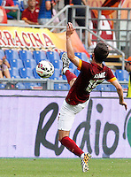 Calcio, Serie A: Roma vs Cagliari. Roma, stadio Olimpico, 21 settembre 2014.<br /> Roma midfielder Miralem Pjanic, of Bosnia, controls the ball during the Italian Serie A football match between AS Roma and Cagliari at Rome's Olympic stadium, 21 September 2014.<br /> UPDATE IMAGES PRESS/Riccardo De Luca