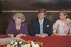 "30.04.2013; Amsterdam : QUEEN BEATRIX OF NETHERLANDS ABDICATES.Queen Beatrix signs the Act of Abdication in favour of her son, Prince Willem-Alexander, in the Mozeszaal or Mozes hall of the Royal Palace in Amsterdam, The Netherlands..Mandatory Credit Photos: ©Maat/NEWSPIX INTERNATIONAL..**ALL FEES PAYABLE TO: ""NEWSPIX INTERNATIONAL""**..PHOTO CREDIT MANDATORY!!: NEWSPIX INTERNATIONAL(Failure to credit will incur a surcharge of 100% of reproduction fees)..IMMEDIATE CONFIRMATION OF USAGE REQUIRED:.Newspix International, 31 Chinnery Hill, Bishop's Stortford, ENGLAND CM23 3PS.Tel:+441279 324672  ; Fax: +441279656877.Mobile:  0777568 1153.e-mail: info@newspixinternational.co.uk"