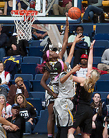 Gennifer Brandon of California blocks the ball during the game against Arizona State at Haas Pavilion in Berkeley, California on February 16th, 2014.  California defeated Arizona State, 74-63.