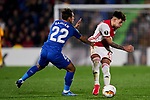 Damian Suarez of Getafe FC and Lisandro Martinez of AFC Ajax during UEFA Europa League match between Getafe CF and AFC Ajax at Coliseum Alfonso Perez in Getafe, Spain. February 20, 2020. (ALTERPHOTOS/A. Perez Meca)