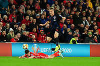 Daniel James of Wales is fouled by Tin Jedvaj of Croatia during the UEFA Euro 2020 Qualifier between Wales and Croatia at the Cardiff City Stadium in Cardiff, Wales, UK. Sunday 13 October 2019