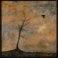 Encaustic painting of bare tree with crow photo transfer by Jeff League.