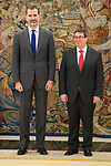 King Felipe VI of Spain receive in audience to Sr. Bruno Eduardo Rodriguez Parrilla, Minister of foreign relations of the republic of cuba at Zarzuela Palace in Madrid, April 17, 2017. Spain.<br /> (ALTERPHOTOS/BorjaB.Hojas)