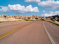 Road through Badlands National Park, South Dakota