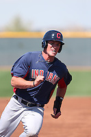 Jordan Smith #22 of the Cleveland Indians runs the bases during a Minor League Spring Training Game against the Cincinnati Reds at the Cincinnati Reds Spring Training Complex on March 25, 2014 in Goodyear, Arizona. (Larry Goren/Four Seam Images)