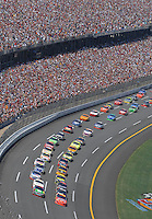 Apr 29, 2007; Talladega, AL, USA; Nascar Nextel Cup Series drivers Jeff Gordon (24) and David Gilliland (38) lead the field to the green flag to begin the Aarons 499 at Talladega Superspeedway. Mandatory Credit: Mark J. Rebilas