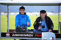 Sideline commentators Hamish Waareham and Adam Julian at the Wellington premier college football match between Hutt International Boys School and St Patrick's College Silverstream at Trentham Racecourse in Upper Hutt, New Zealand on Saturday, 8 August 2020. Photo: Dave Lintott / lintottphoto.co.nz