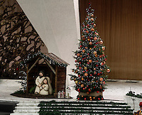 Il presepe e l'albero di Natale durante l'Udienza Generale del mercoled&igrave; in aula Paolo VII, Citt&agrave; del Vaticano, 7 dicembre 2016.<br /> A traditional Crib and a Christmas tree during the weekly general audience in Paul VI Hall at the Vatican on December 7, 2016. <br /> UPDATE IMAGES PRESS/Isabella Bonotto<br /> <br /> STRICTLY ONLY FOR EDITORIAL USE