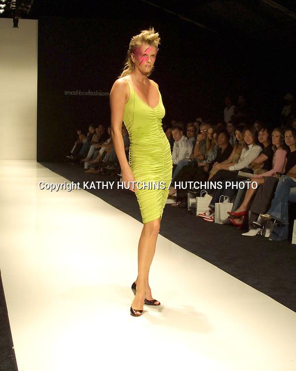 ©2003 KATHY HUTCHINS / HUTCHINS PHOTO.FASHION WEEK LA - MAGGIE BARRY.SMASHBOX.CULVER CITY, CA.OCTOBER 29, 2003..KYLIE BAX.