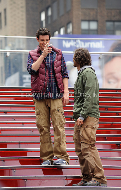 WWW.ACEPIXS.COM . . . . . ....April 25 2011, New York City....Actor Cory Monteith filming an episode of the hit series 'Glee' in Times Square on April 25 2011 in New York City....Please byline: KRISTIN CALLAHAN - ACEPIXS.COM.. . . . . . ..Ace Pictures, Inc:  ..(212) 243-8787 or (646) 679 0430..e-mail: picturedesk@acepixs.com..web: http://www.acepixs.com