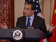 Washington, DC - February 23, 2016: Chinese Foreign Minster Wang Yi holds a press availability in the Ben Franklin Room of the U.S. Department of State after a bilateral meeting with Secretary of State John Kerry, February 23, 2016.  (Photo by Don Baxter/Media Images International)