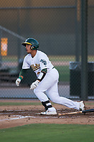AZL Athletics catcher Jorge Gordon (33) starts down the first base line during an Arizona League game against the AZL Giants Orange at Lew Wolff Training Complex on June 25, 2018 in Mesa, Arizona. AZL Giants Orange defeated the AZL Athletics 7-5. (Zachary Lucy/Four Seam Images)