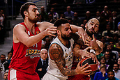 9th February 2018, Wiznik Centre, Madrid, Spain; Euroleague Basketball, Real Madrid versus Olympiacos Piraeus; Nikola Milutinov (OLYMPIACOS BC)defends against Jeffery Taylor (Real Madrid Baloncesto) assisted by Vassilis Spanoulis (OLYMPIACOS BC)