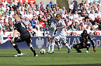Pictured: (L-R) Philippe Senderos, Nathan Dyer, Wayne Routledge.<br /> Sunday 19 May 2013<br /> Re: Barclay's Premier League, Swansea City FC v Fulham at the Liberty Stadium, south Wales.