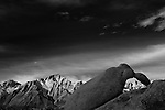 Sunrise on Whitney in the High Sierra from Alabama Hills in this black and white landscape shot.