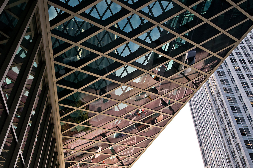 Downtown Seattle Public Library building detail photo with reflection. The building architect was Rem Koolhas. Photograph by Robert Wade.