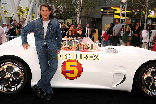 "EMILE HIRSCH .""Speed Racer"" Los Angeles Premiere at the Nokia Theatre, Los Angeles, California, USA, 26 April 2008..full length denim jean jacket car .CAP/ADM/BP.©Byron Purvis/Admedia/Capital PIctures"