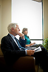 Mark Baldassare of the Public Policy Institute of California, left, meets with his survey team, including research associate Nicole Willcoxson, right, in his San Francisco, Calif. office June 1, 2010..CREDIT: Max Whittaker for The Wall Street Journal.Pollster