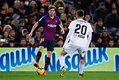 2nd February 2019, Camp Nou, Barcelona, Spain; La Liga football, Barcelona versus Valencia; Sergi Roberto of FC Barcelona takes on Ferran of Valencia CF