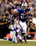 8 October 2007: Buffalo Bills running back Marshawn Lynch makes a reception and run for a 24-yard gain in the second quarter against the Dallas Cowboys at Ralph Wilson Stadium in Buffalo, New York. The Cowboys defeated the Bills 25-24 winning their fifth consecutive game of the season...Mandatory Photo Credit: Ed Wolfstein Photo