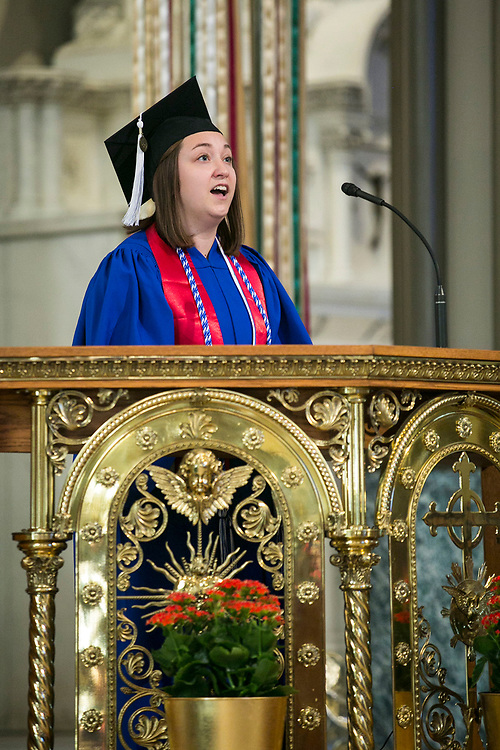 English major Jordan Battaglia leads the congregation in song during the annual Baccalaureate Mass at the Saint Vincent de Paul Parish Church on DePaul University's Lincoln Park Campus Friday, June 9, 2017. The event was part of the 119th commencement ceremonies for the Chicago university. (DePaul University/Jamie Moncrief)