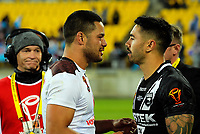 Fiji's Jarryd Hayne and New Zealand's Shaun Johnson shake hands after the 2017 Rugby League World Cup quarterfinal match between New Zealand Kiwis and Fiji at Wellington Regional Stadium in Wellington, New Zealand on Saturday, 18 November 2017. Photo: Dave Lintott / lintottphoto.co.nz