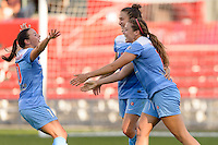 Bridgeview, IL, USA - Sunday, May 29, 2016: Chicago Red Stars forward Sofia Huerta (11) and midfielder Vanessa DiBernardo (10) celebrate Huerta's goal during a regular season National Women's Soccer League match between the Chicago Red Stars and Sky Blue FC at Toyota Park. The game ended in a 1-1 tie.