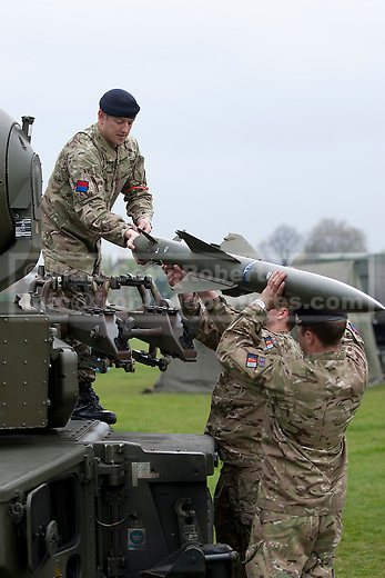 02/05/2012. LONDON, UK. Gunners from Sphinx Battery, 16 Regiment Royal Artillery, fit a practice missile to a Rapier anti-aircraft system in London today (02/04/12) . As part of an exercise testing military procedures and security across London for the 2012 Olympic Games a Rapier Surface to Air Missile System (SAM) has been deployed to Blackheath in South East London. Photo credit: Matt Cetti-Roberts