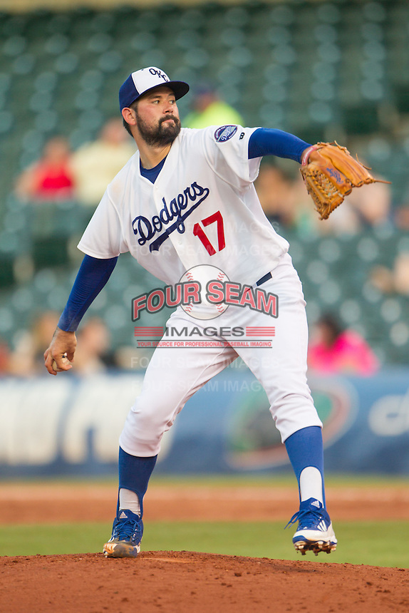 Oklahoma City Dodgers pitcher Zach Lee (17) on the mound during a game against the Omaha Storm Chasers at Chickasaw Bricktown Ballpark on June 16, 2016 in Oklahoma City, Oklahoma. Oklahoma City defeated Omaha 5-4  (William Purnell/Four Seam Images)