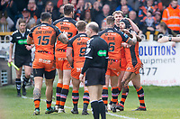 Picture by Allan McKenzie/SWpix.com - 11/03/2018 - Rugby League - Betfred Super League - Castleford Tigers v Salford Red Devils - the Mend A Hose Jungle, Castleford, England - Castleford celebrate Luke Gale's try against Salford.